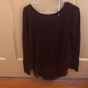 Maroon sweater with sheer Under layer